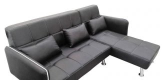MODERN FAUX LEATHER LOUNGER SOFA WITH CHAISE in BROWN & BLACK