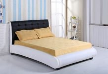King Size Faux Leather Black & White Designer Bed Frame - Bedroom Furniture Sale