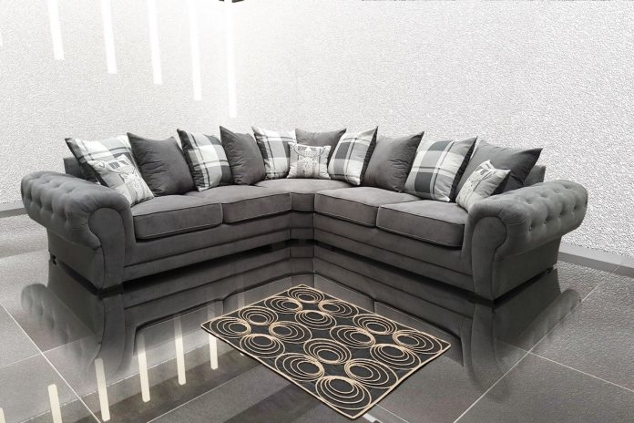 Big Corner Sofa Suite in Venon Fabric, 3+2 Seater, Armchair in Grey color with Fast Delivery
