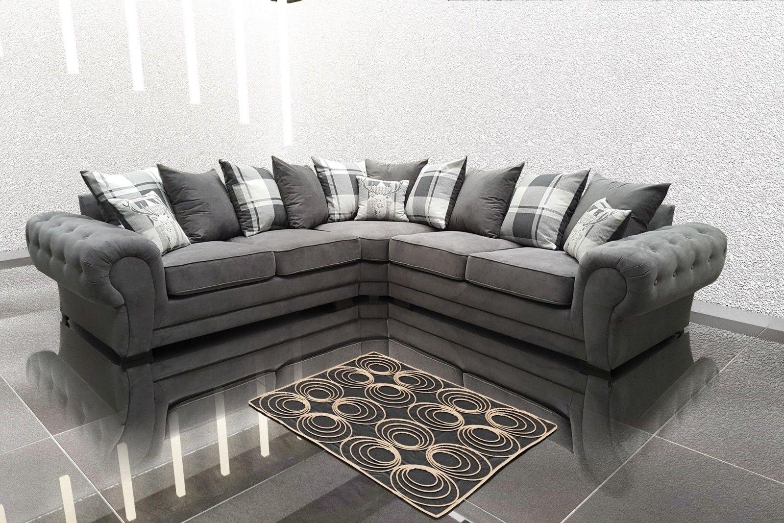 Corner Sofa Suite In Venon Fabric 3 2 Seater Armchair Grey