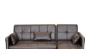 Modern Faux Leather Lounger Sofa with Chaise – Brown