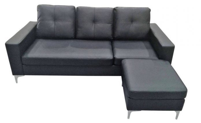 3-SEATER FAUX LEATHER SOFA WITH MATCHING STOOL - CREAM OR BLACK