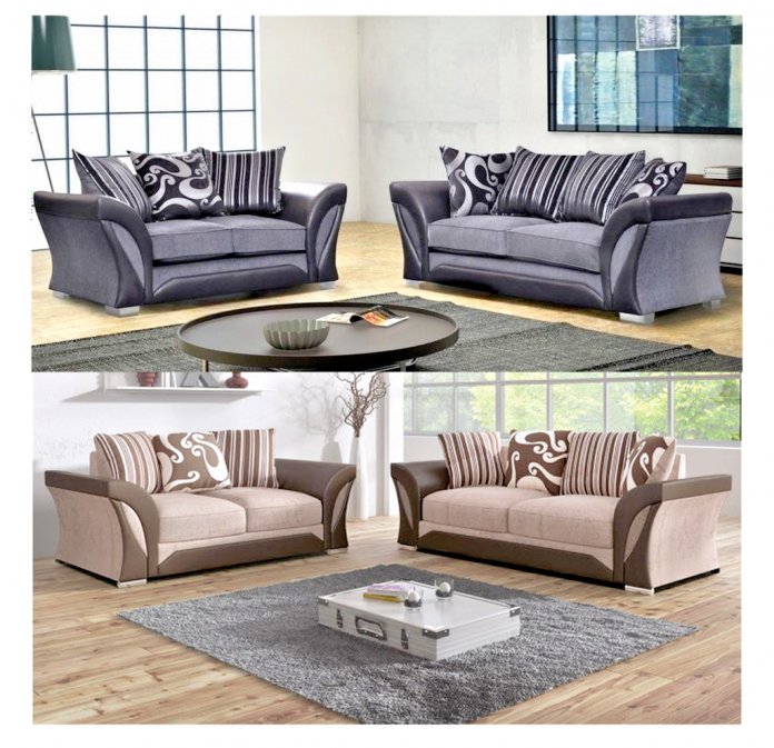 SHANNON LUXURY DESIGNER FABRIC & FAUX LEATHER FULL 3+2 SOFA SET IN GREY OR BROWN